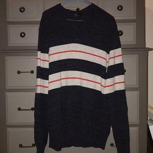 Men's GAP striped v neck sweater; XL